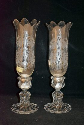 141. Pr. Baccarat Candlesticks with Hurricane Shades    $430.50