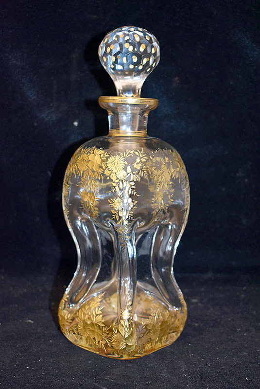 142. 19th Century Pinched and Gilt Glass Decanter |  $35.40