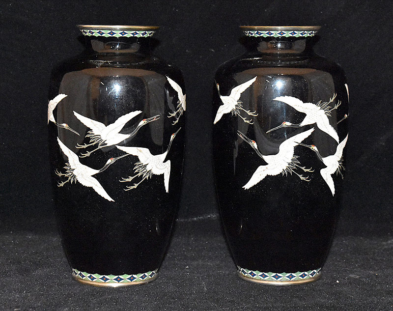 145. Pair of Cloisonné Crane-Decorated Vases |  $147.50