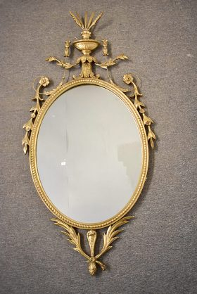 150. Gilt and Gesso Adams-Style Mirror    $123