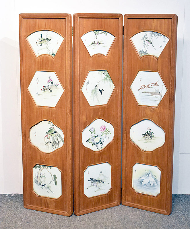 151. Chinese Porcelain-Inset Three-Panel Screen |  $2,832