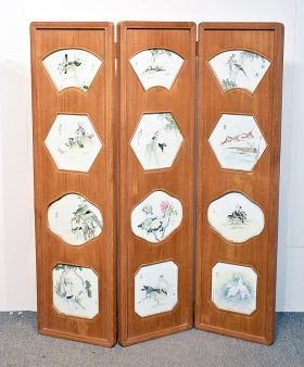 151. Chinese Porcelain-Inset Three-Panel Screen    $2,832