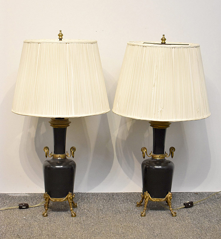 153. Pr. Empire Mask-Mounted Table Lamps |  $276.75