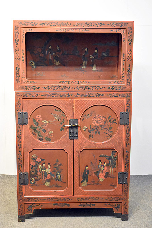 174. Asian Lacquered Two-Part Cabinet |  $73.80