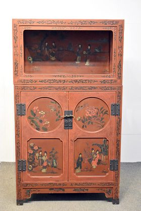 174. Asian Lacquered Two-Part Cabinet    $73.80