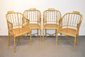 180. Four Baker Faux Bamboo Chairs    $738