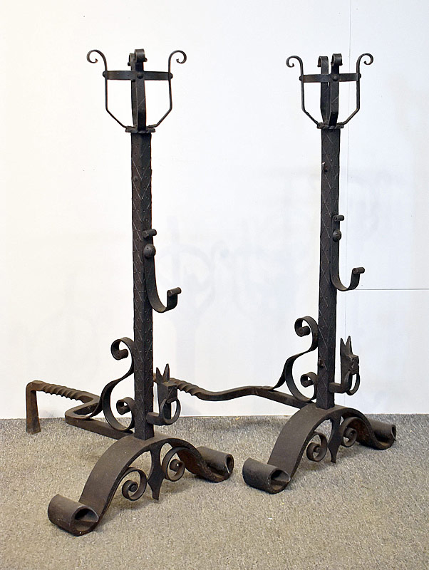 185A. Pair of Wrought Iron Figural Andirons |  $442.50