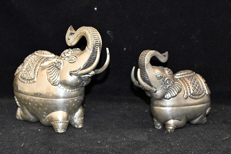 193. Two Thai .900 Silver Elephant Betel Boxes |  $307.50