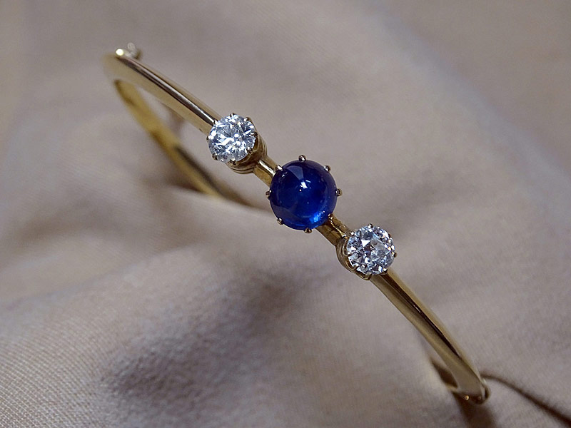 196. Diamond and Sapphire Bangle Bracelet |  $1,416