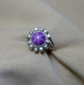 198. Star Ruby and Diamond Ring    $383.50