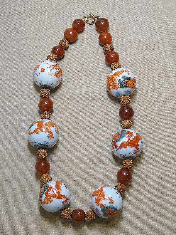 206. Asian Sard & Porcelain Bead Necklace |  $23.60