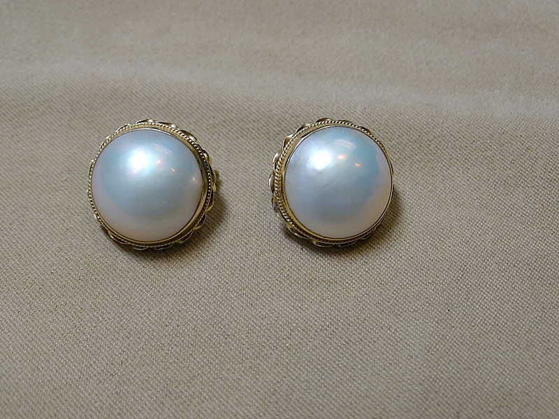 207. Pair of Mabé Pearl Earrings |  $354