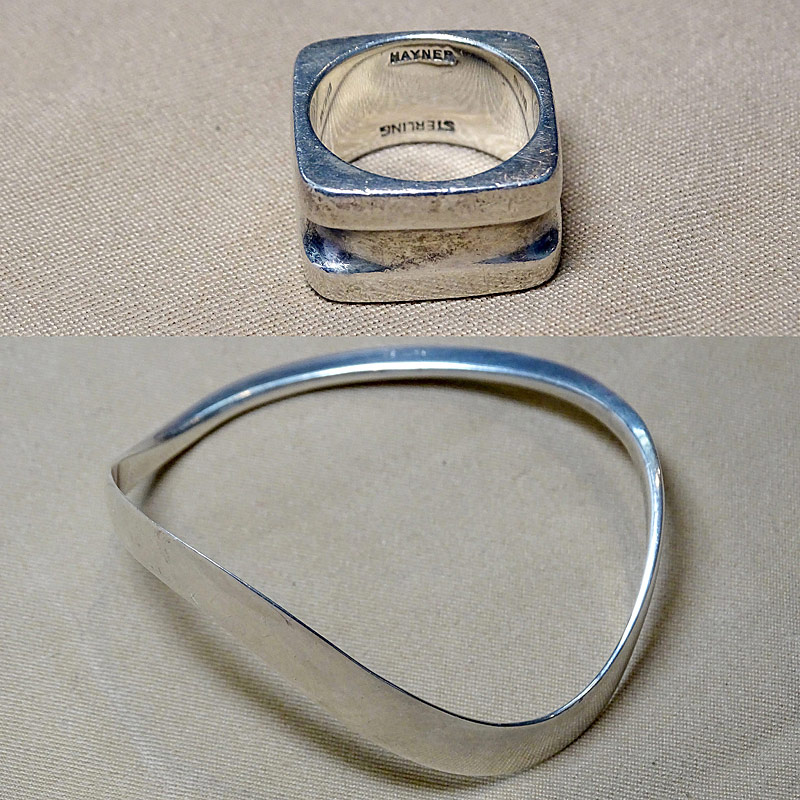 210. Hayner Modernist Sterling Ring & Bangle Bracelet |  $94.40