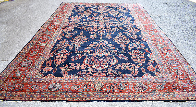 251A. Blue Sarouk Room-size Carpet, 16ft 4in x 10ft 6in |  $2,337
