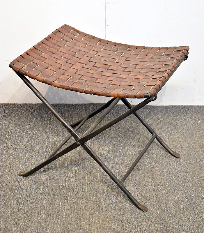255. Iron & Woven Leather Folding Stool |  $399.75