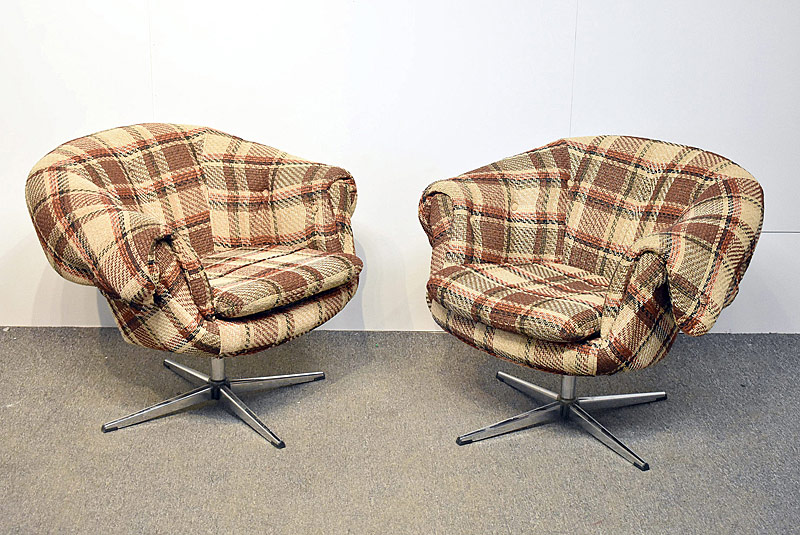277. Pair of Overman Plaid Swivel Club Chairs |  $184.50