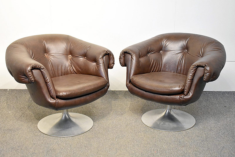 278. Pair of Overman Brown Swivel Club Chairs |  $215.25
