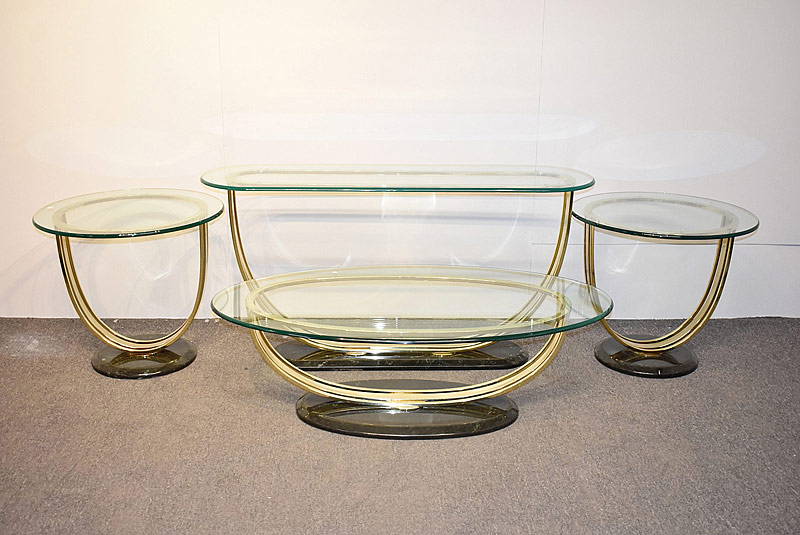 283. Modernist Brass & Glass Living Room Suite |  $61.50
