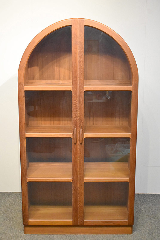 284. Danish Teak Glass Door Bookcase Cabinet |  $206.50