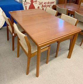 290. Danish Teak Extension Table and Four Chairs    $236