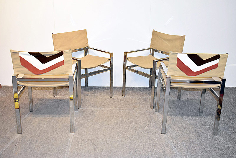 302. Four Modernist Chrome Sling Chairs |  $94.40