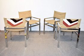 302. Four Modernist Chrome Sling Chairs    $94.40