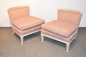 315. Pair of Carved and Painted Slipper Chairs    $236