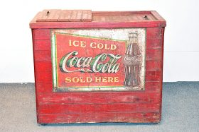 327. Coca-Cola Red-Painted Ice Chest    $413