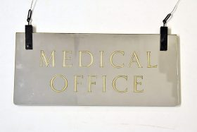 329. Glass Dbl-Sided Mirrored Medical Office Sign    $47.20