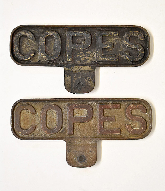 330. Two Copes Iron Advertising Signs |  $35.40