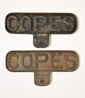 330. Two Copes Iron Advertising Signs    $35.40