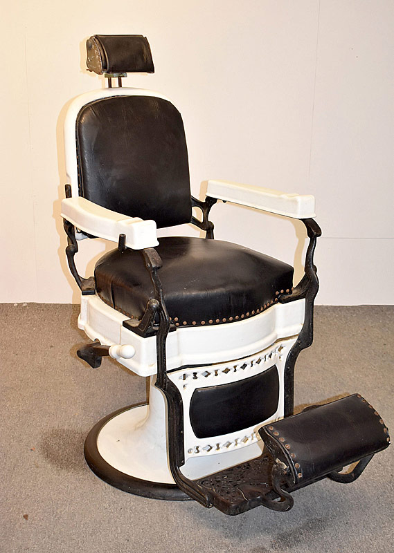334. Koken White Porcelain & Leather Barber Chair |  $676.50