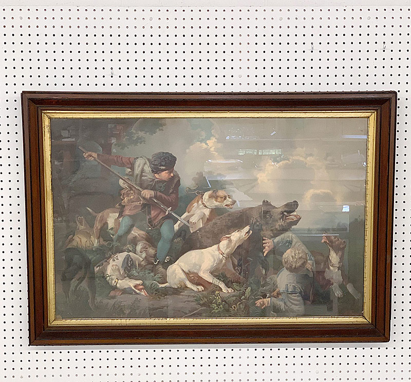 347A. After Hermann Freese. Lithograph, Boar Hunt |  $70.80