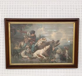 347A. After Hermann Freese. Lithograph, Boar Hunt    $70.80