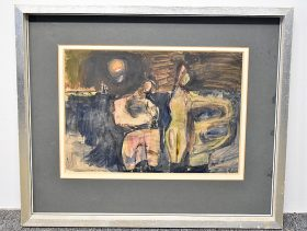 352. Abstract Watercolor on Paper, Two Figures    $47.20