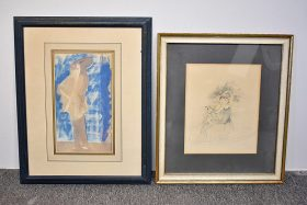 356. Grouping: Watercolor Abstract and Lithograph    $35.40