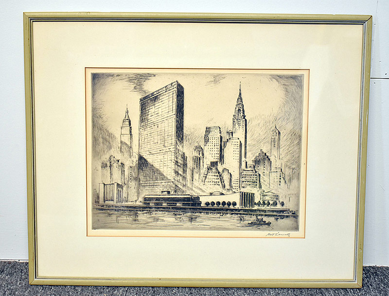 358. Nat Lowell. Etching/Paper, United Nations Bldg. |  $147.50
