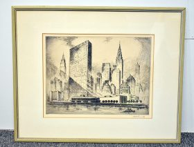 358. Nat Lowell. Etching/Paper, United Nations Bldg.    $147.50