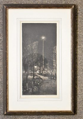 361. Edith Nankivell. Etching with Aquatint, Eternal Light, Madison Square    $1,353