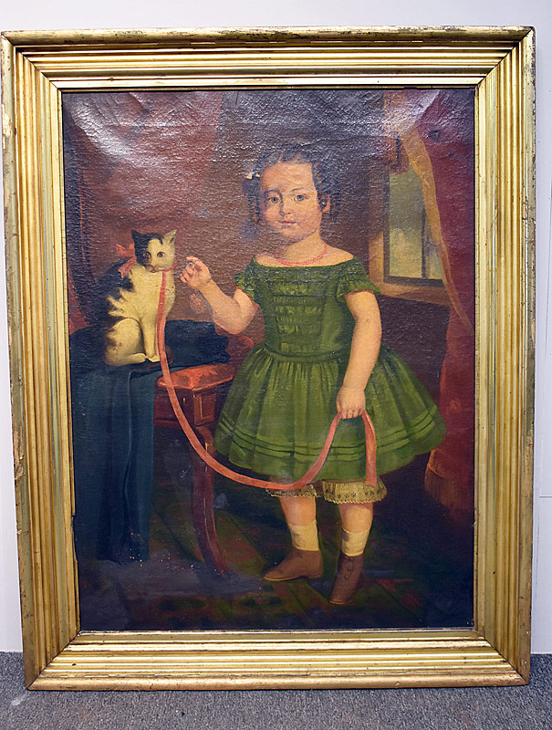 366. American Primitive Folk Art Portrait, Girl with Cat |  $11,070