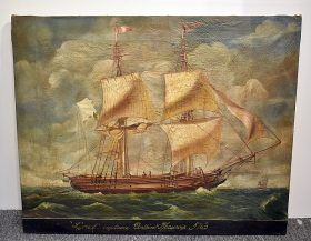 367. Oil on Canvas Painting of a Schooner    $430.50