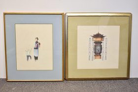 371. Two Chinese Watercolors: Lantern, Figures    $61.50