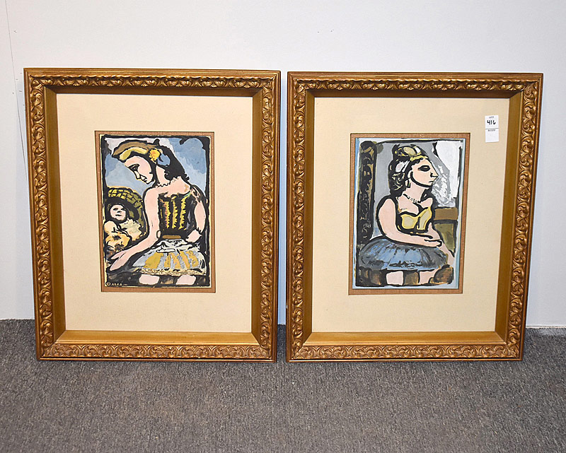 372. Pair of Modernist Gouache Abstract Portraits |  $23.60