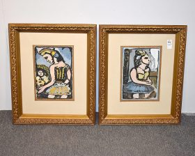 372. Pair of Modernist Gouache Abstract Portraits    $23.60