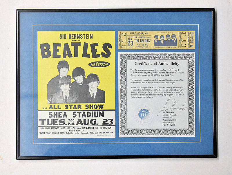391. Framed 1966 Beatles Concert Ticket |  $324.50
