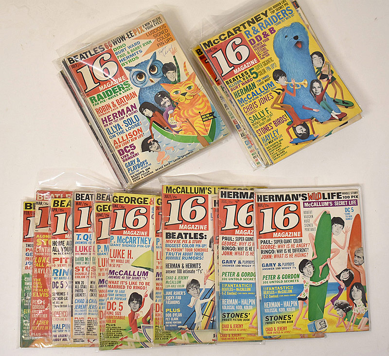 425. 64 Copies of Beatles-Related 16 Magazine |  $118